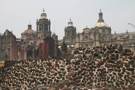 Catholic cathedral, with Templo Mayor ruins in the foreground