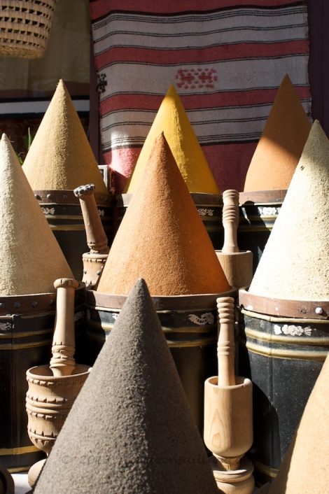 spices on display in the ancient souks of Marrakech