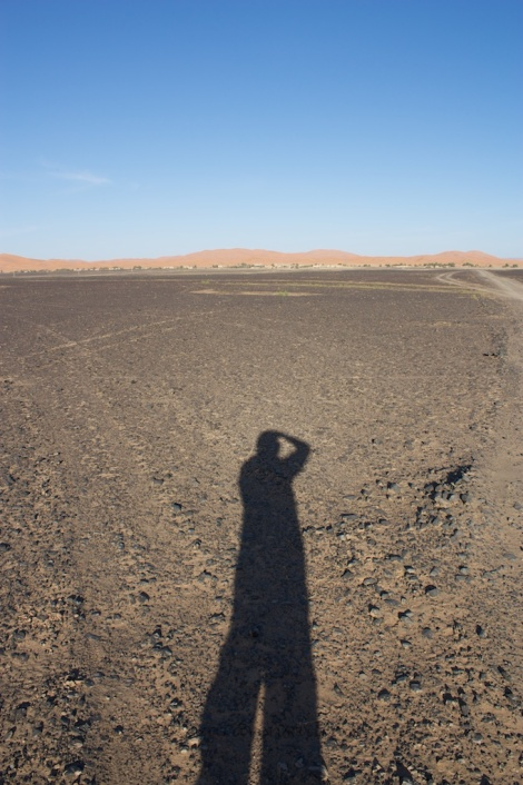 self portrait looking into the desert