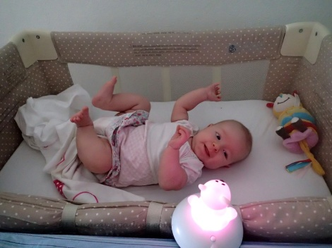 3 months old and celebrating with Mr Ice-Bear, her nightlight!